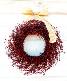 RED & GOLD Christmas Wreath-Christmas Door Decor-Winter Wreath-Holiday Home Decor-New Years Wreath-CUSTOM-Choose Scent and Ribbon on Etsy, $65.00