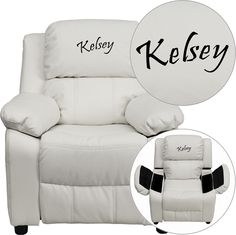 Flash Furniture Personalized Deluxe Padded White Vinyl Kids Recliner with Storage Arms