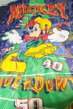 Mickey Mouse Sleeping Bag Disney Football Touchdown Blue 30 x 57 Zip Kids VTG  #Disney