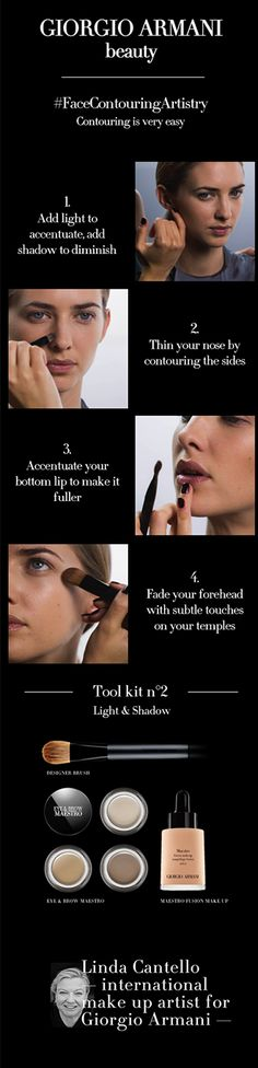 Armani Artistry Tutorial 2/15: Face Contouring. Shape of your face with the contouring technique of Linda Cantello, International make-up artist for Giorgio Armani.