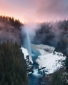 """""""Incredible fog drifting across this gorgeous waterfall as the sun sets leaving a vibrant orange glow, Helmcken Falls, Canada _______ _______ By _______ Beautiful Scenery Pictures, Beautiful Landscapes, Beautiful Places, Fall Photos, Nature Photos, Landscape Photography, Travel Photography, Sunset Photography, Photography Tips"""