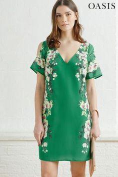 שמלה ירוקה בהדפס טרופי וכתפיים חשופות של Oasis