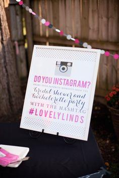 Instagram sign, bridal shower, kate spade