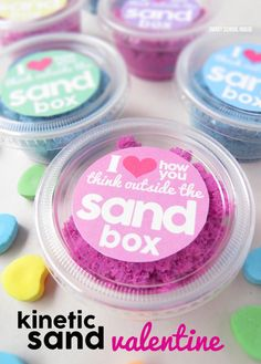 I love how you think outside the sandbox. A non-candy Valentine's day idea using Kinetic Sand!