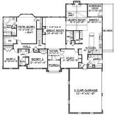 Country Style House Plan - 4 Beds 3.5 Baths 2500 Sq/Ft Plan #430 ...