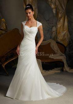 Chiffon Queen Anne Sheath/ Column Asymmetric Waist With Ruching Casual Wedding Dresses