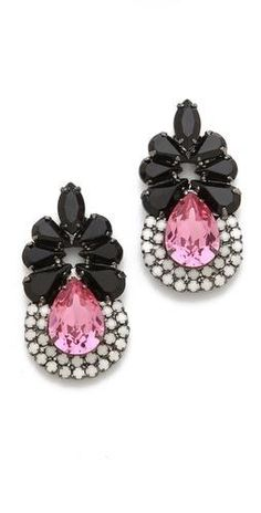 These pretty post earrings feature an art deco-inspired arrangement of clear and cloudy Swarovski crystals.