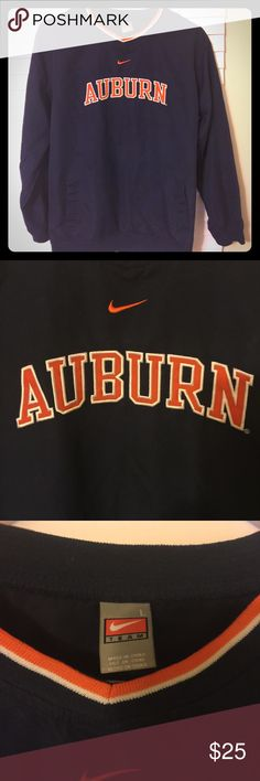 Nike Auburn pullover %100 polyester Nike Auburn University pullover. Excellent condition. Has two front pockets with embroidered lettering. Nike Tops Sweatshirts & Hoodies