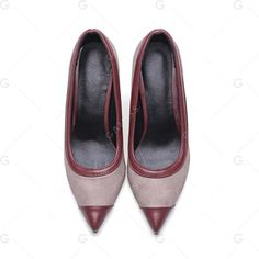 Wine Red 34 Women's Pumps Chic Elegant Pointed Toe Patchwork Thin Heel... (1.485 UYU) ❤ liked on Polyvore featuring shoes and pumps