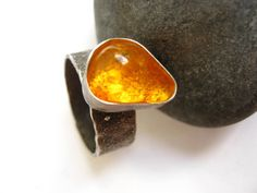 Raw Yellow Amber Specimen Ring  Rare Insect by metalmorphoz, $195.00