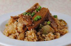 recettes végétariennes faciles: riz aux oignons et seitan