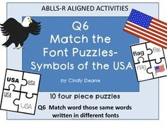 ABLLS-R ALIGNED ACTIVITIES Q6 Match the font puzzles-Symbols of the USA puzzles