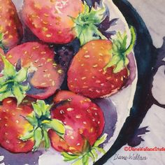 """PRIVATE COLLECTION, Fresh #strawberries, watercolor, 8"""" x 10"""""""