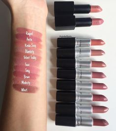 32 Gorgeous Mac Lipsticks Are Awesome Kinda Sexy Blankety Velvet Teddy Faux Twig Brave Modesty Whirl - Hair and Beauty eye makeup Ideas To Try - Nail Art Design Ideas Mac Lipstick Shades, Mac Lipstick Colors, Mac Lipstick Swatches, Nude Lipstick, Makeup Swatches, Mac Lipsticks, Mac Lipstick Modesty, Mac Blankety Lipstick, Makeup Ideas