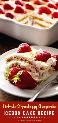 This easy, no-bake dessert is perfect for this summer! It has layers of cheesecake pudding, cool whip, graham crackers, and fresh strawberries.best to eat when ice cold to relief the hotness of summer season! Cool Whip Desserts, Easy Summer Desserts, Cold Desserts, Easy No Bake Desserts, Oreo Desserts, Plated Desserts, Strawberry Icebox Cake, Strawberry Dessert Recipes, Graham Cracker Dessert