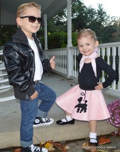 Adorable Toddler Custom Made Prancing poodle skirt Your choice of Size and Color Kids 50s Costume, Sibling Halloween Costumes, Sibling Costume, Twin Halloween, Hallowen Costume, Toddler Costumes, Halloween Party, Grease Costumes For Kids, 1950s Costumes