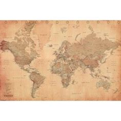 #2: World Map (Vintage Style) Art Poster Print - 24x36 Poster Print, 36x24 Collections Poster Print, 36x24
