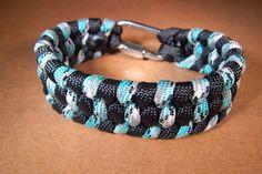 Blue/White/Grey/Black + Black Paracord Bracelet with Quick Link, Large