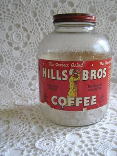 Hills Bros Coffee Jar 1930's/1940's Red by sugarshopvintage