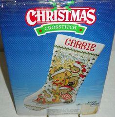 Christmas Cross Stitch Stocking Kit Christmas Reindeer by Joan Elliott 9 X16 NIP #GoodShepherd #CrossStitch