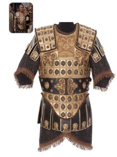 """John Douchette Achillas costume from """"Cleopatra"""" (1963). Designed by Vittorio Nino Novorese for John Doucette, who portrays Egyptian General Achillas, head of Pharaoh Ptolemy XIII army. Worn during Caesar's royal visit to Egypt to order the discord between Ptolemy and his sister Cleopatra."""