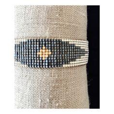 Carmen Salvador - Woman Beaded Bracelet DIAMOND Mate silver, petrol blue and gold $56.00