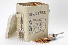Bird Feed Tin & Scoop - In Jersey Cream by Burgon and Ball of Sheffield England. A beautifully designed, vintage looking tin. Great gift for gardeners and bird lovers.