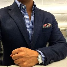 Navy Blazer and blue checked shirt, great look with jeans