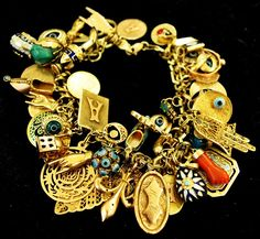 Gold Turkish and Blue Enamel Charm Bracelet, Evil Eye and Hamsa: Over 50 charms decorate this multinational good luck bracelet!