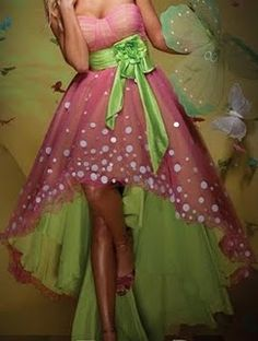Strapless Sweetheart Short Prom Dress Tea Length Hi-lo Pink Green with White Spots Evening Dress Green Satin Sash Party Dress Grad Dresses, Cute Dresses, Beautiful Dresses, Party Dresses, Wedding Dresses, Homcoming Dresses, Evening Dresses Uk, Tea Length Dresses, Everything Pink