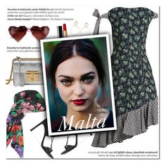 """How to Style a Black and White Gingham and Flower Print Dress with a Floral Gucci Silk Scarf, Silver Metallic Bag, Heart-Shaped Retro Sunglasses, Strappy Black Wrap Heels, Red Lipstick and Gold Earrings for Travel to Malta this Summer"" by outfitsfortravel ❤ liked on Polyvore featuring House of Holland, Gucci, Maria Francesca Pepe, Stuart Weitzman, Chanel and Balmain"