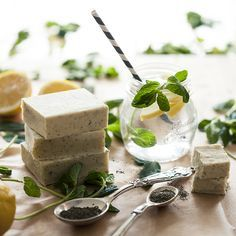 [ Recipe: Homemade Lemon Herb Soap ] Using dried ground mint leaves, lye, lemon essential oil, canola oil, coconut oil, dried ground basil, olive oil, basil essential oil. ~ from Brit + Co