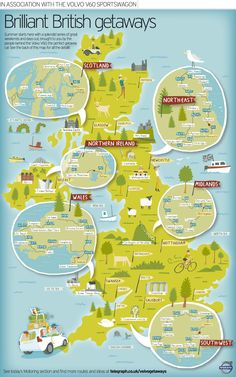 Brilliant British Getaway Map for The Sunday Telegraph, UK by Nate Padavick from idrawmaps.blogspot.com