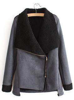 Suede Lined Side Zipper Coat