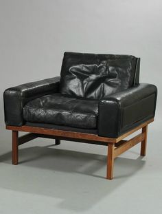 Henry W. Klein; Rosewood and Leather Lounge Chair by Bramin, 1960s.