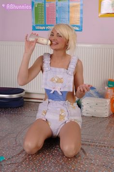 Candice into romper created by a great ABDL clothes-designer : Alice OHlala . (adult-baby and diaper lover)