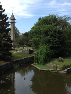 A view of the Shakespeare Gardens from the Avon River in Stratford, Ontario.