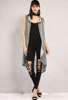 Distressed Ladder-Cutout Longline Vest