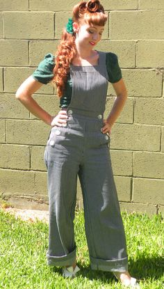 Pinup Girl Railroad Stripe Overalls Rockabilly by NicoleKatherine