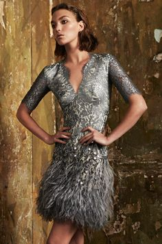 Stunning 1920's inspired modern flapper dress in grey lace and feathers from Matthew Williamson Pre-Fall