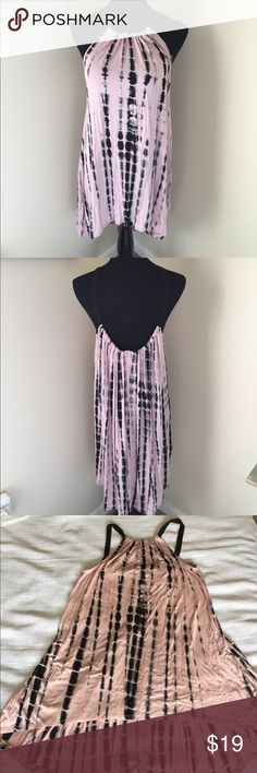 NIP pink/black tie-dye high/low halter dress New in package tie-dye black and pink high-low hem halter dress.  95% rayon and 5% spandex for a soft feel.   Drapes beautifully.  Pet/smoke free home. Dresses High Low