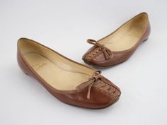 Christian Louboutin Luggage Brown Leather Lace Up Ballet Flat Shoe Sz 38 8 | eBay