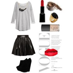 Gray sweater, black leather skirt