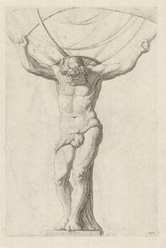 Atlas, Hubert Quellinus, 1655 - 1668 ets en gravure, h × b Rijksmuseum, Amsterdam Anatomy Sketches, Art Drawings Sketches, Atlas Tattoo, Amsterdam, Renaissance Art, Gravure, Art Sketchbook, Figure Drawing, New Art