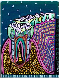 Teeth Original Painting Dental Art by Heather by HeatherGallerArt, $250.00