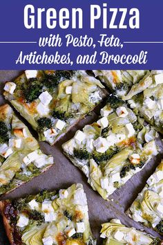 Green Pizza with Pesto, Feta, Artichokes & Broccoli . a delicious vegetarian pizza recipe! easy veggie pizza packed with healthy toppings and tons of flavor. Make this easy vegetarian pizza recipe tonight Veggie Pizza, Pesto Pizza, Beignets, Feta, Vegetarian Pizza Recipe, Vegetarian Dinners, Green Pizza, Cooking Recipes, Healthy Recipes