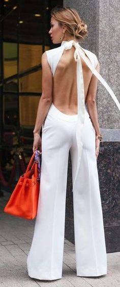 #summer #ultimate #classy #outfitideas | White Jumpsuit + Red Bag
