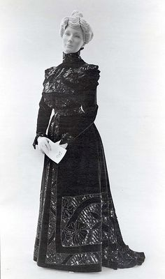 """""""Dress, Walking. Date: 1885–90 Culture: American (probably) Medium: silk, metallic thread Dimensions: Length at CB: 56 1/2 in. (143.5 cm)"""" VIEW TWO"""