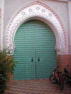 Turquoise door, Marrakesh, Morocco