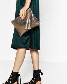 Image 1 of LEATHER TASSEL WALLET from Zara